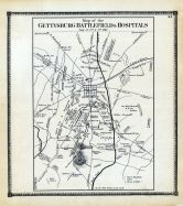 Gettysburg Battlefield and Hospitals Map, Adams County 1872