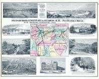 Steel Bridge, Bird's Eye View Pittsburgh, Cork Run Tunnel, National Soldiers Home, Grand Union Depot, Pan Handle Route, Jefferson County 1878