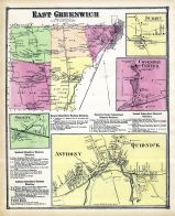 Greenwich East, Sumit, Coventry Center, Greene Anthony, Quidnick, Rhode Island State Atlas 1870