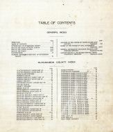 Table of Contents, Hutchinson County 1910