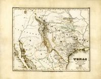 Texas 1846 State Map Stich 17x21, Texas 1846 State Map Stich