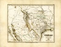 Texas 1846 State Map Stich 19x15, Texas 1846 State Map Stich