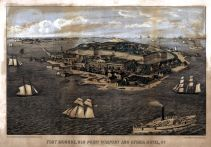 Fort Monroe - Old Point Comfort - Hygeia Hotel 1861c Bird's Eye View 17x24, Fort Monroe - Old Point Comfort - Hygeia Hotel 1861c Bird's Eye View
