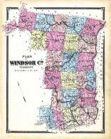 Windsor County Map, Windsor County 1869