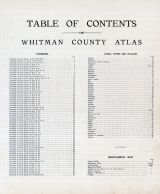 Table of Contents, Whitman County 1910