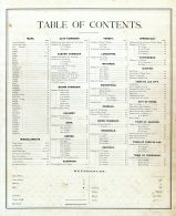 Table of Contents, Fond du Lac 1874