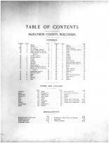 Table of Contents, Marathon County 1901