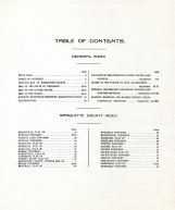Table of Contents, Marquette County 1919