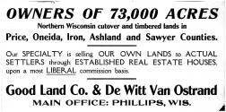 Good Land Co & De Witt Van Ostrand, Price County 1910