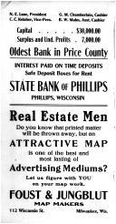State Bank of Phillips, Foust & Jungblut Map Makers, Price County 1910