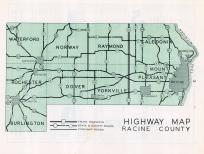 Racine County Highway Map, Racine County 1950c