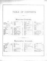Table of Contents, Racine and Kenosha Counties 1887