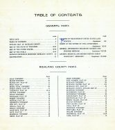 Table of Contents, Richland County 1919