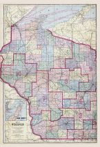 Wisconsin State Map, Vernon County 1915