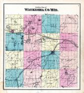 Waukesha County Outline Map, Waukesha County 1873