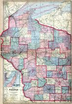 Wisconsin State Map, Waushara County 1914