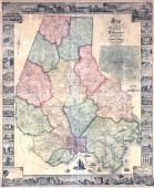 Baltimore County 1857 Wall Map with Inserts 44x53, Baltimore County 1857 Wall Map with Inserts