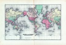 World Chart on Mercators Projection, Clark County 1875