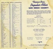 Index of Cities Towns and Communities, San Diego County 1956