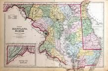 Maryland, Deleware and District of Columbia Map, Washington D.C. and Montgomery County, MD 1879