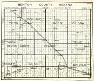 Benton County, York, Richland, Union, Gilboa, Parish Grove, Prairie, Pine, Hickory Grove, Grant, Indiana State Atlas 1950c