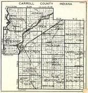 Carroll County, Jefferson, Adams, Rock Creek, Madison, Clay, Monroe, Democrat, Burlington, Carrolton, Indiana State Atlas 1950c