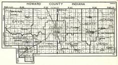 Howard County, Ervin, Clay, Howard, Liberty, Jackson, Monroe, Honey Creek, Harrison, Taylor, Union, Indiana State Atlas 1950c