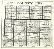 Jay County, Penn, Jackson, Bear Creek, Wabash, Knox, Greene, Wayne, Noble, Richland, Jefferson, Pike, Madison, Indiana State Atlas 1950c
