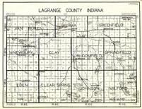 Lagrange County, Van Buren, Lima, Greenfield, Newbury, Clay, Bloomfield, Springfield, Eden, Clear Spring, Johnson, Milford, Indiana State Atlas 1950c