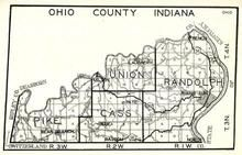 Ohio County, Pike, Union, Randolph, Cass, Blue, Pate, Laughery, French, Bear Branch, Indiana State Atlas 1950c
