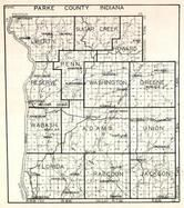 Parke County, Liberty, Sugar Creek, Howard, Penn, Reserve, Washington, Greene, Wabash, Adams, Florida, Raccoon, Indiana State Atlas 1950c