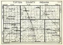 Tipton County, Prairie, Liberty, Wildcat, Jefferson, Cicero, Madison, Jacksons, Elwood, Curtisville, Elkin, Indiana State Atlas 1950c