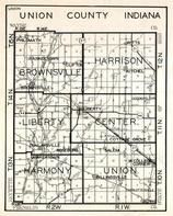 Union County, Brownsville, Harrison, Liberty, Center, Harmony, Union, Salem, Cottage Grove, Dunlapsville, Roseburg, Indiana State Atlas 1950c