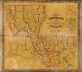 Louisiana 1848 State Map with Landowner Names 43x49