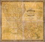 Louisiana 1853 State Map with Landowner Names 43x46