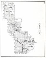 Powell County, Flathead National Forest, Rocky Mountains, Deer Lodge, Garrison, Bradley, Avon, Kohr, Sinclair, Schatz, Montana State Atlas 1950c