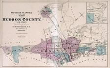 Index Map - Hudson County, New Jersey State Atlas 1873 Jersey City and former Greenville Township