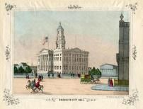 Brooklyn City Hall 1850 to 1899 Colored View - 68x034, Brooklyn City Hall 1850 to 1899 Colored View - 68x034
