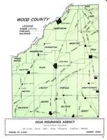 Wood County Rivers, Streams and Railroads Map, Wood County 1954