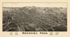 Danbury 1884 Bird's Eye View 17x31, Danbury 1884 Bird's Eye View