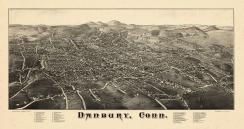 Danbury 1884 Bird's Eye View 24x44, Danbury 1884 Bird's Eye View