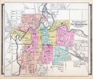 Fort Wayne Outline Street and Ward Map, Allen County 1898