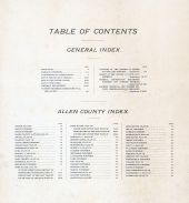 Table of Contents, Allen County 1898