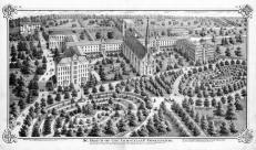 Bird's Eye View of St. Mary's of the Immaculate Conception, St. Joseph County 1875