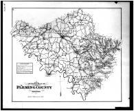 Fleming County Outline Map, Bath and Fleming Counties 1884