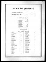 Table of Contents, Baltimore County 1898