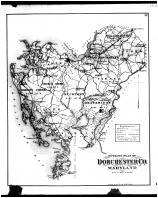 Dorchester County Outline Map, Talbot and Dorchester Counties 1877
