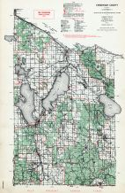 Cheboygan County, Burt Lake, Mullett, Michigan State Atlas 1955