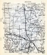 Becker County 1 - Callaway, Sugar Buss, Walworth, Spring Creek, White Earth, Maple, Atlanta, Riceville, Callaway, Minnesota State Atlas 1954