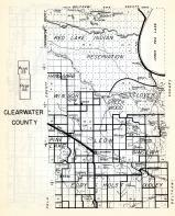 Clearwater County, Red Lake Indian Reservation, Hangaard, Winsor, Clover, Greenwood, Pine Lake, Minnesota State Atlas 1954